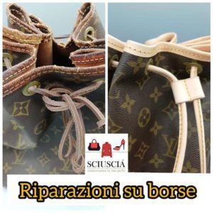 Nella foto ricolorazione borsa Luis Vuitton a Padova