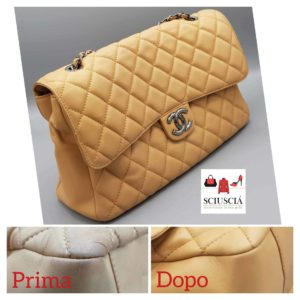 Nella foto una borsa in pelle Chanel ricolorata dai nostri artigiani a Padova