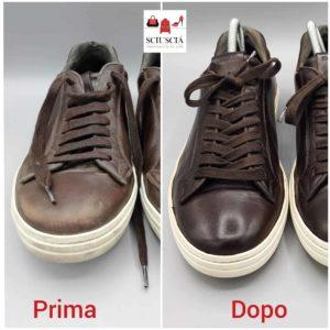 Nella foto la ricolorazione di una sneaker a Padova