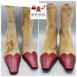 Nella foto la pulizia di stivali macchiati di sugo a Padova