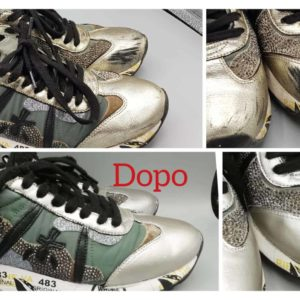 Nella foto la riparazione di una sneaker che aveva dei graffi sulla tomaia